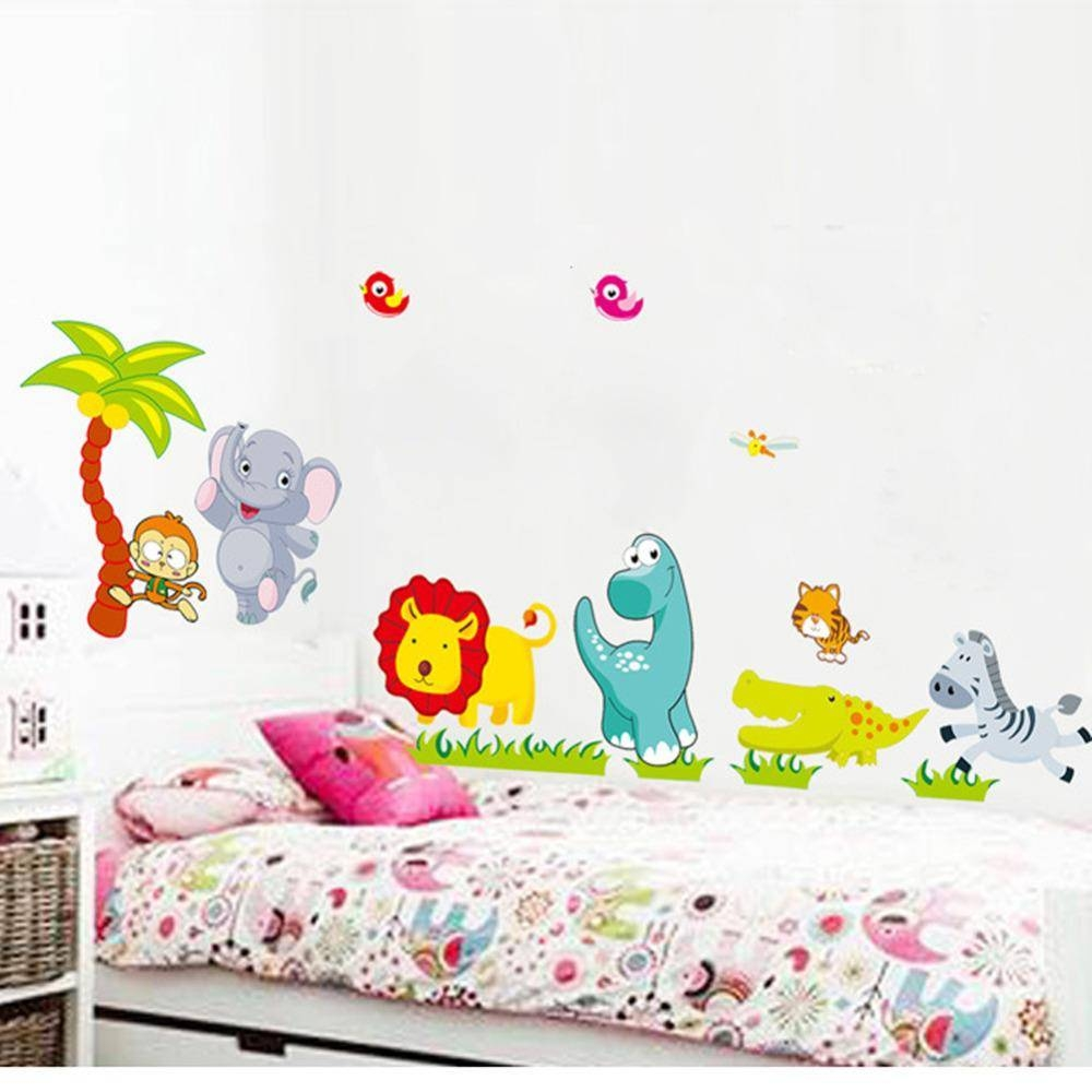 Cartoon Animals Diy 3D Vintage Wallpaper Vinyl Wall Stickers For With Regard To Most Recent Animals 3D Wall Art (View 20 of 20)