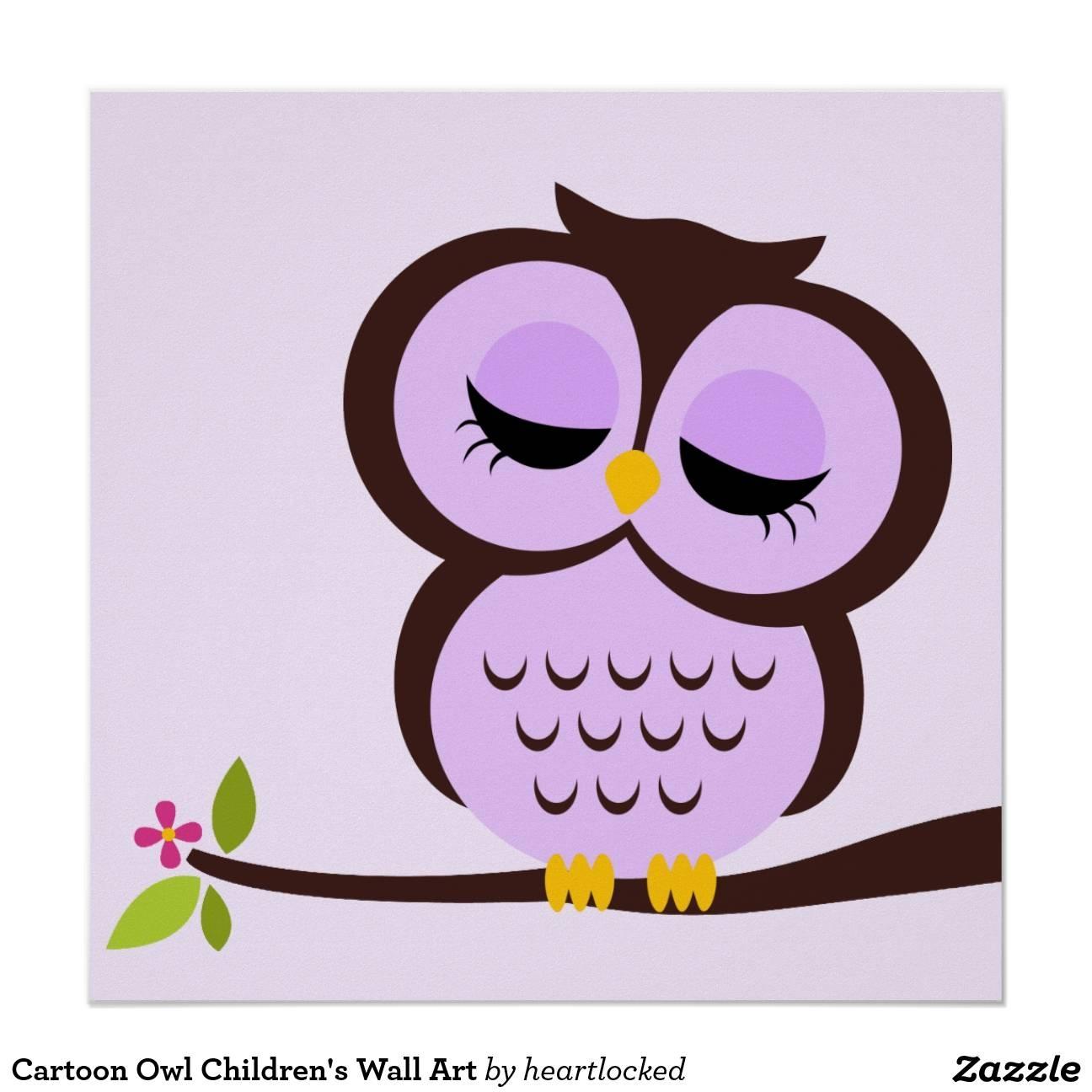 Cartoon Owl Art, Cartoon Owl Paintings Framed Artworkcartoon For Best And Newest Owl Framed Wall Art (View 6 of 20)