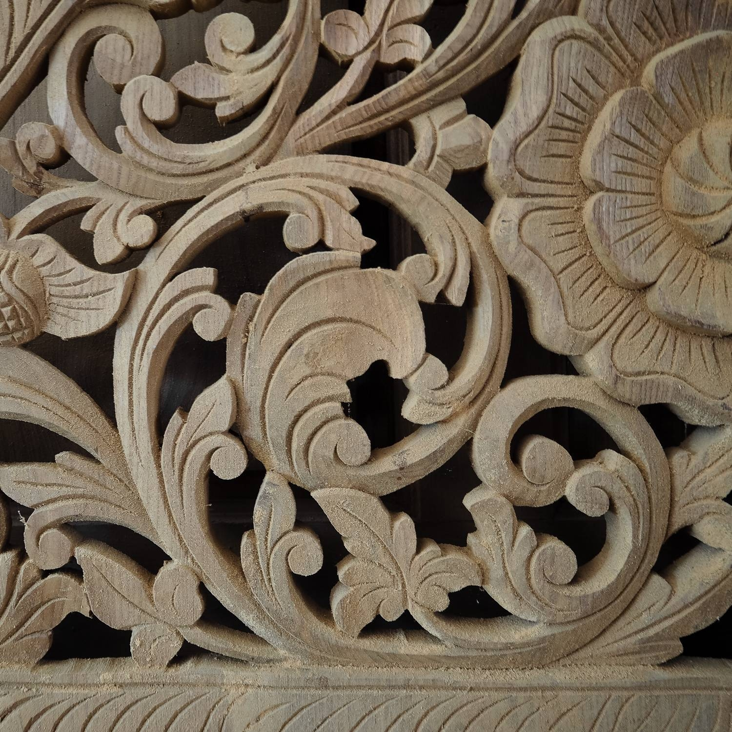 Carved Bed Panel Oriental Wall Art Decor – Siam Sawadee Throughout Current Asian Wall Art Panels (View 6 of 20)