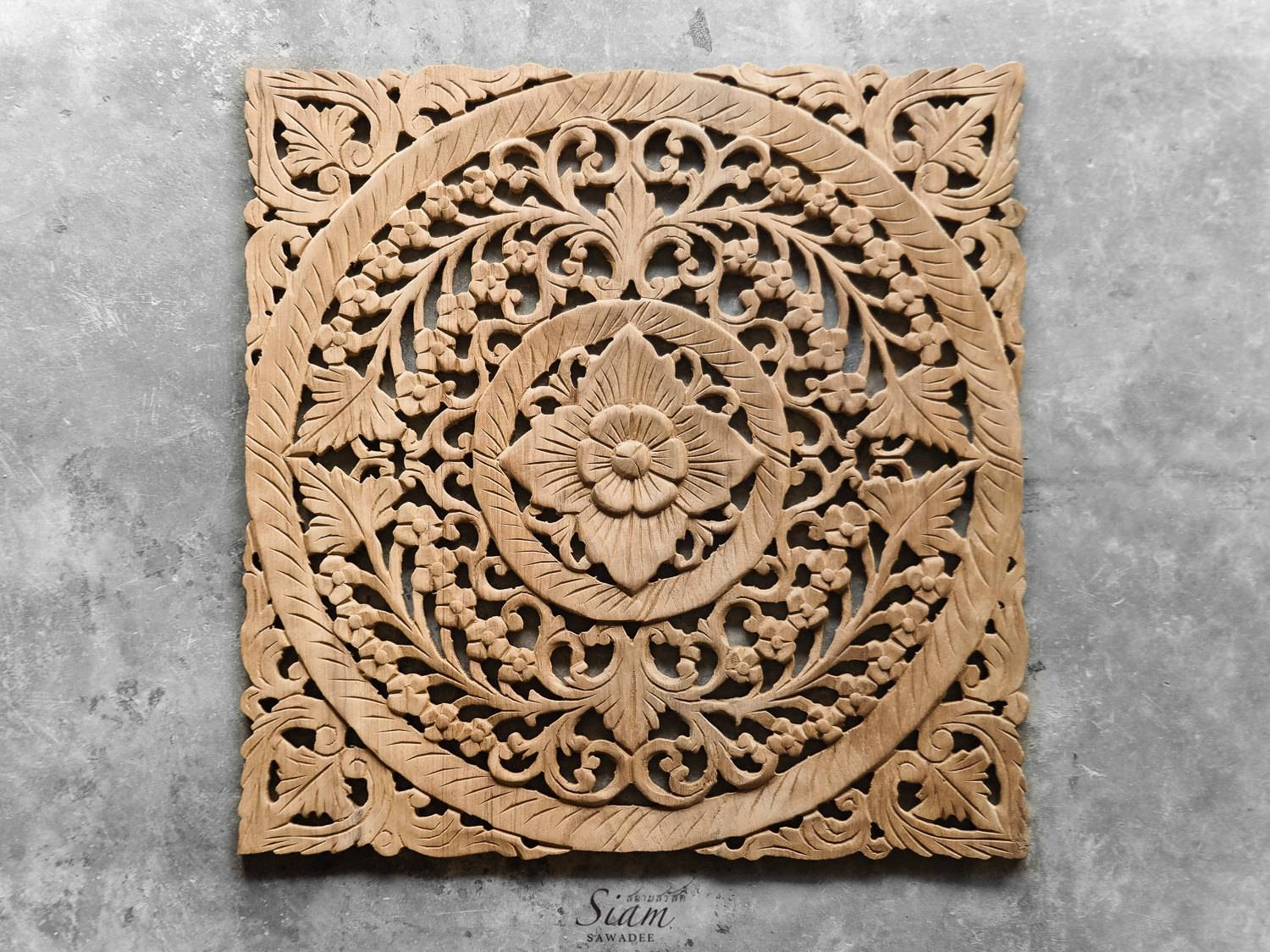 Carved Wooden Lotus Wall Hanging Panel – Siam Sawadee Regarding Most Recent Wood Carved Wall Art Panels (View 15 of 25)