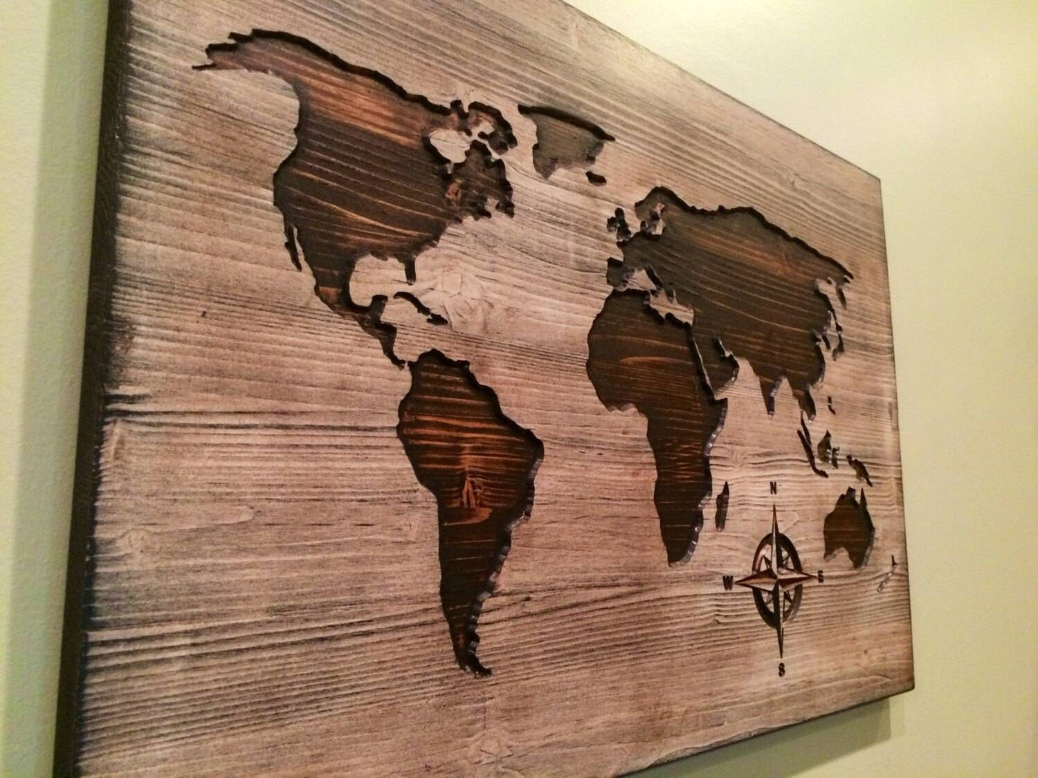 Carved Wooden World Map Wood Wall Art World Map Home Decor Throughout Most Popular Map Wall Art (View 7 of 25)