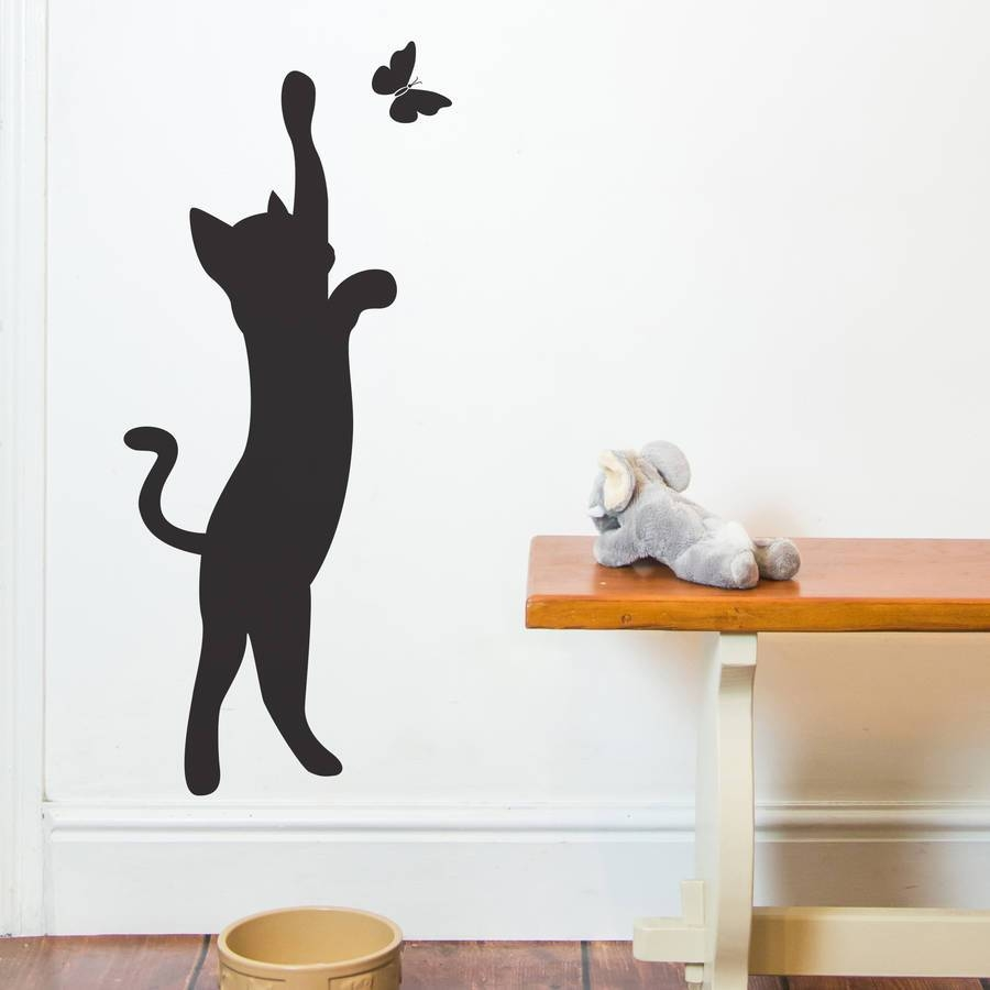 Cat And Butterfly Wall Stickernutmeg | Notonthehighstreet Intended For Most Popular Butterflies Wall Art Stickers (View 4 of 20)
