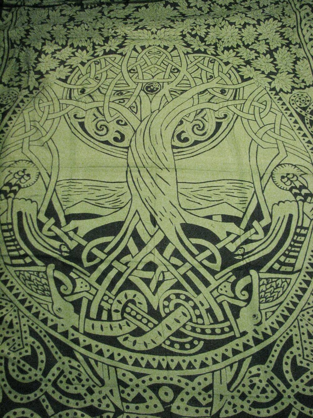 Celtic Tree Of Life Infinity Knot Druid Pagan Tapestry Wall For Recent Celtic Tree Of Life Wall Art (View 8 of 30)