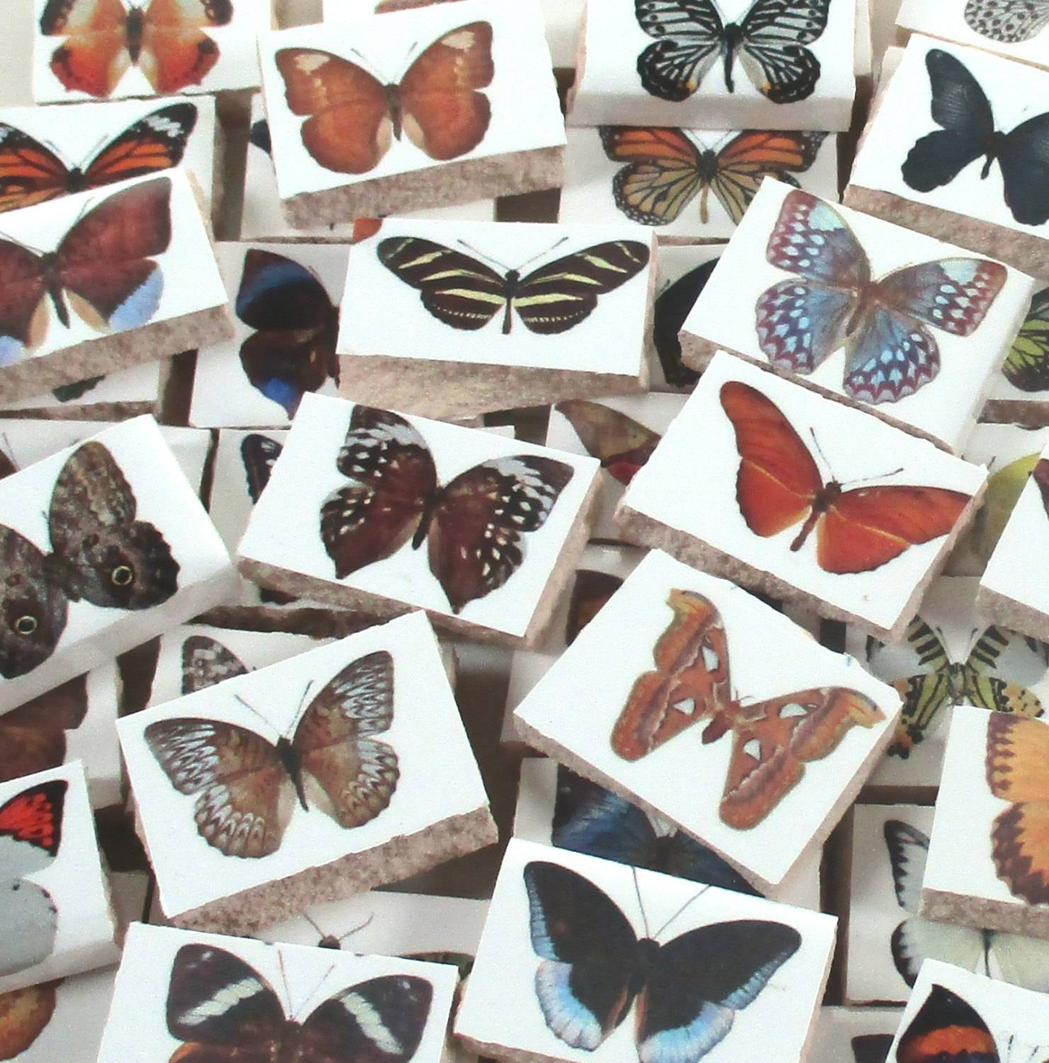 Ceramic Mosaic Tiles – Butterfly And Moth – Butterflies Tile Regarding Newest Ceramic Butterfly Wall Art (View 21 of 30)