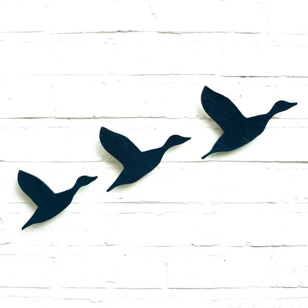 Ceramic Wall Art Flying Ducks Flock In Navy Blue Pottery Bird In Latest Ceramic Bird Wall Art (View 8 of 30)