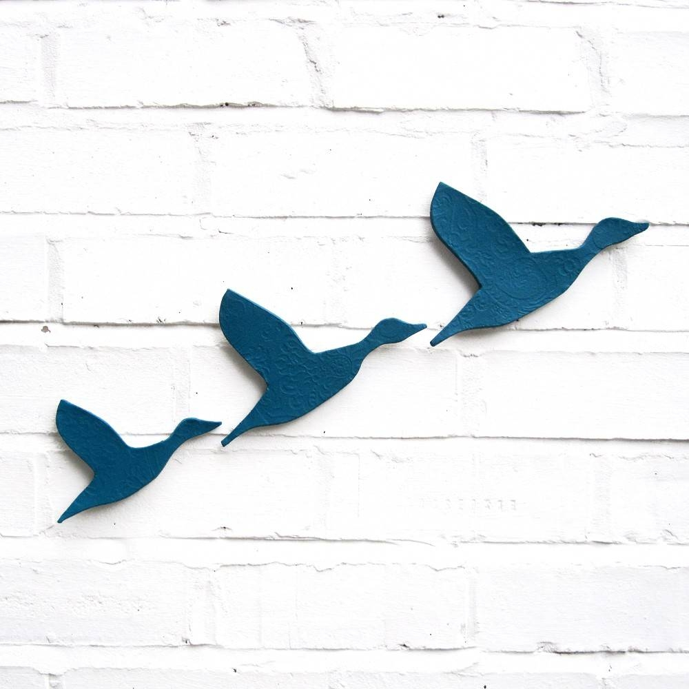Ceramic Wall Art Flying Ducks In Teal Blue Set Of 3 With Regard To Current Ceramic Bird Wall Art (View 16 of 30)