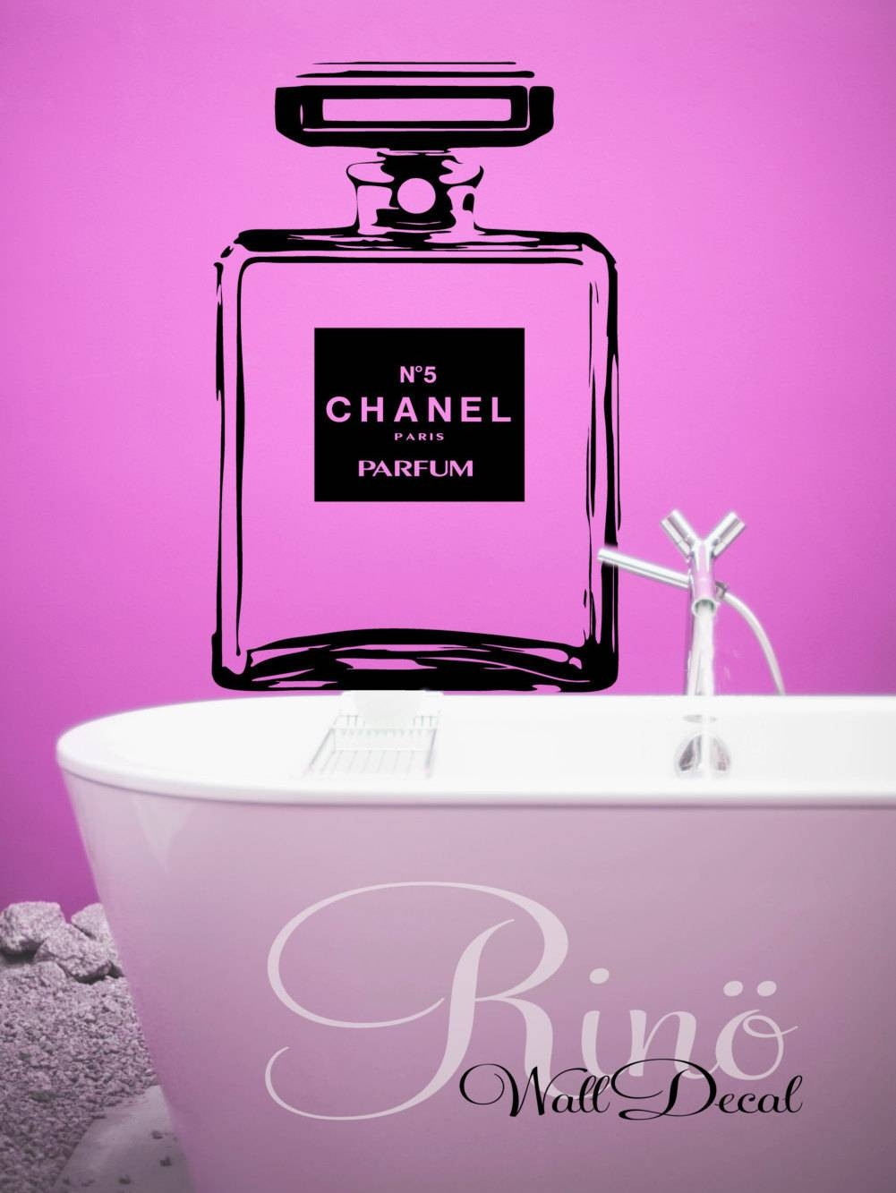 Chanel No 5 Stencil Large Bottle Wall Art Decal Cc Coco Chanel Inside Current Coco Chanel Wall Decals (View 22 of 25)