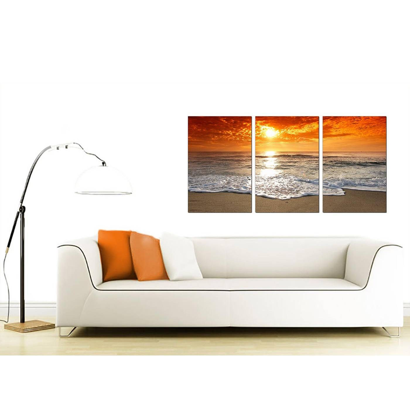 Cheap Beach Sunset Canvas Prints Uk Set Of 3 For Your Living Room With Regard To Recent Canvas Wall Art Sets Of (View 18 of 25)