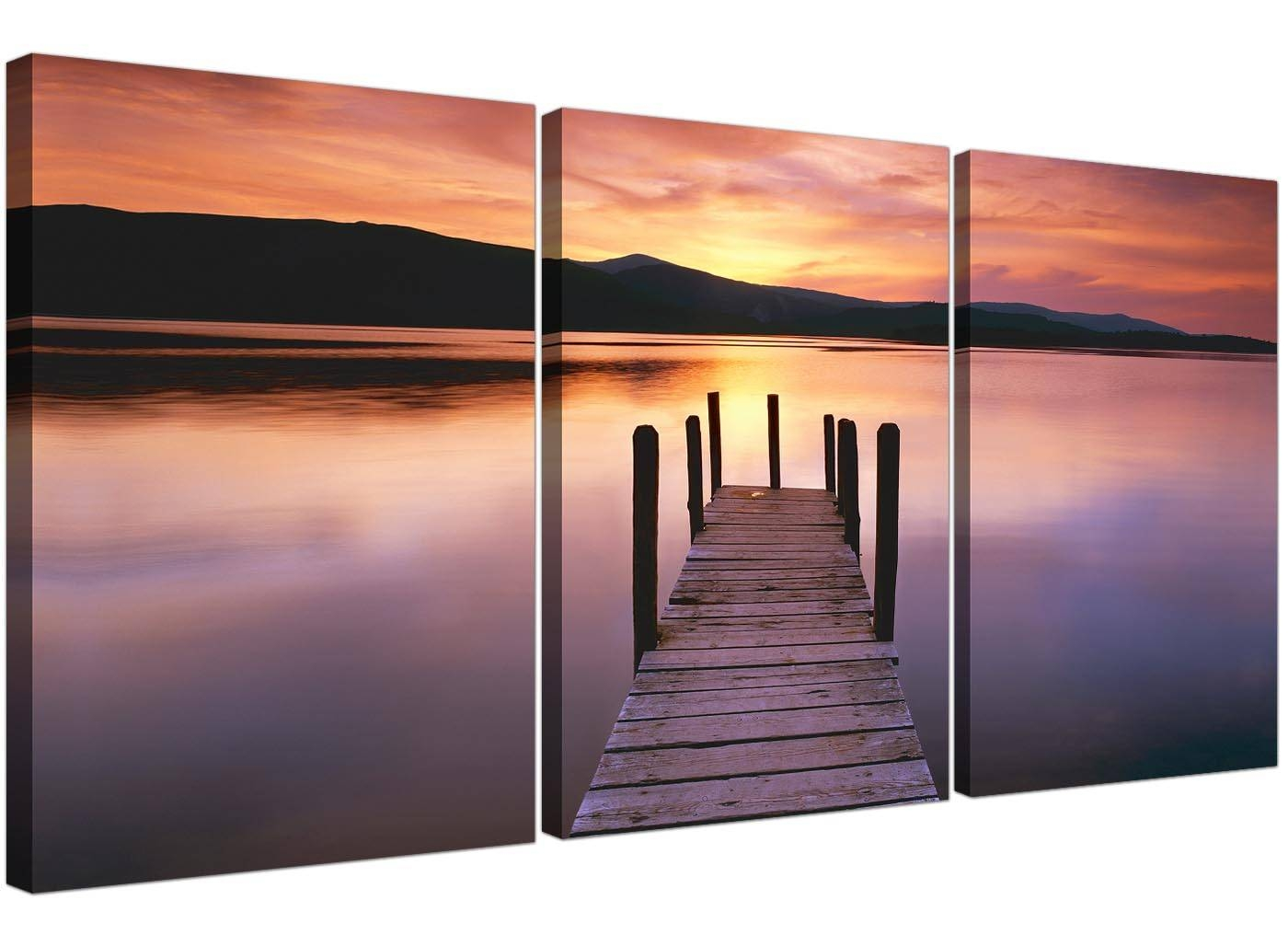 Cheap Lake Sunset Canvas Prints Set Of 3 For Your Living Room Inside Most Recent 3 Set Canvas Wall Art (View 12 of 20)