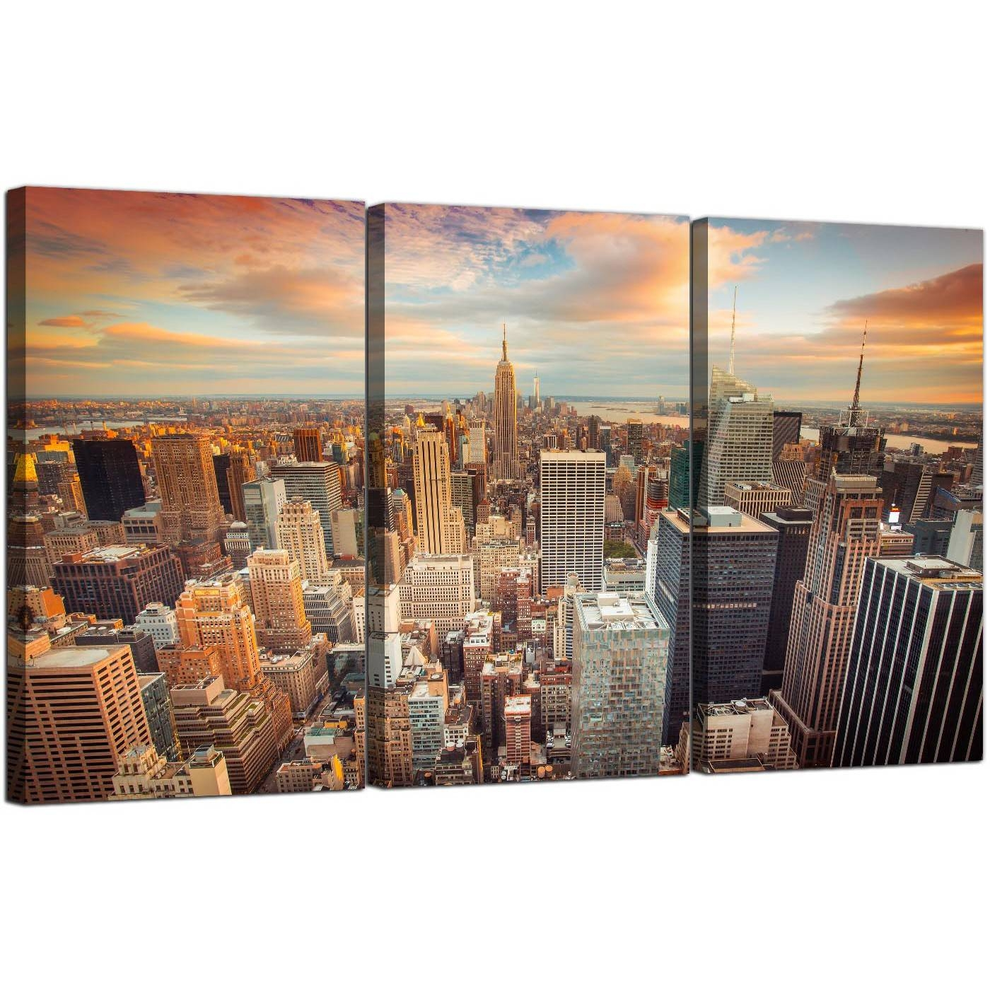 Cheap New York Skyline Canvas Wall Art 3 Panel For Your Living Room With Regard To Recent New York City Canvas Wall Art (View 6 of 20)