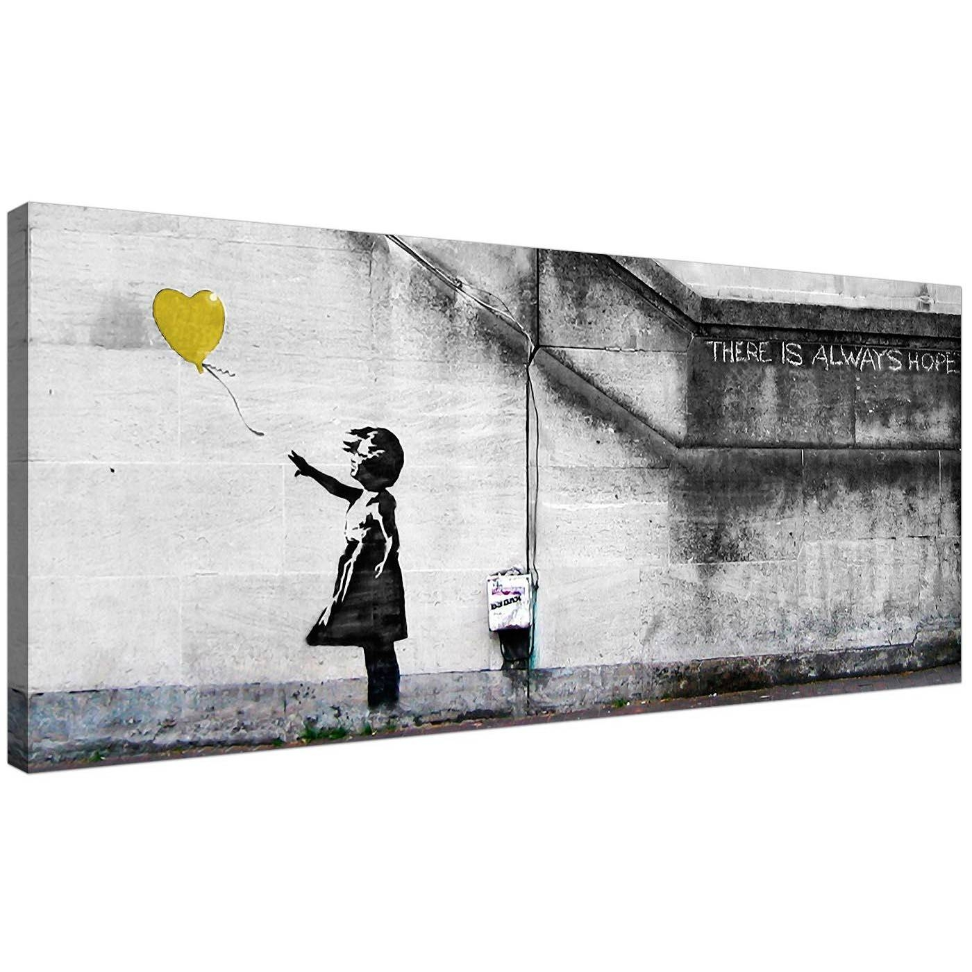 Cheap Yellow Canvas Art Of Banksy Balloon Girl For 2017 Large Yellow Wall Art (View 6 of 20)