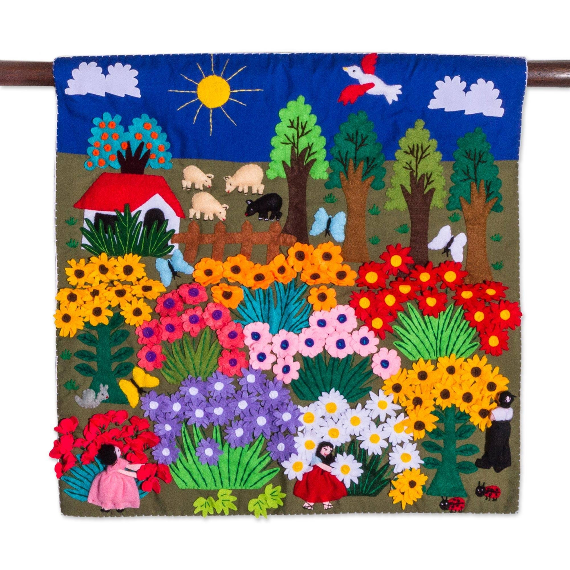 Cheerful Applique Arpilleria Wall Hanging From Peru – Harvesting Pertaining To Most Recently Released Peruvian Wall Art (View 6 of 30)