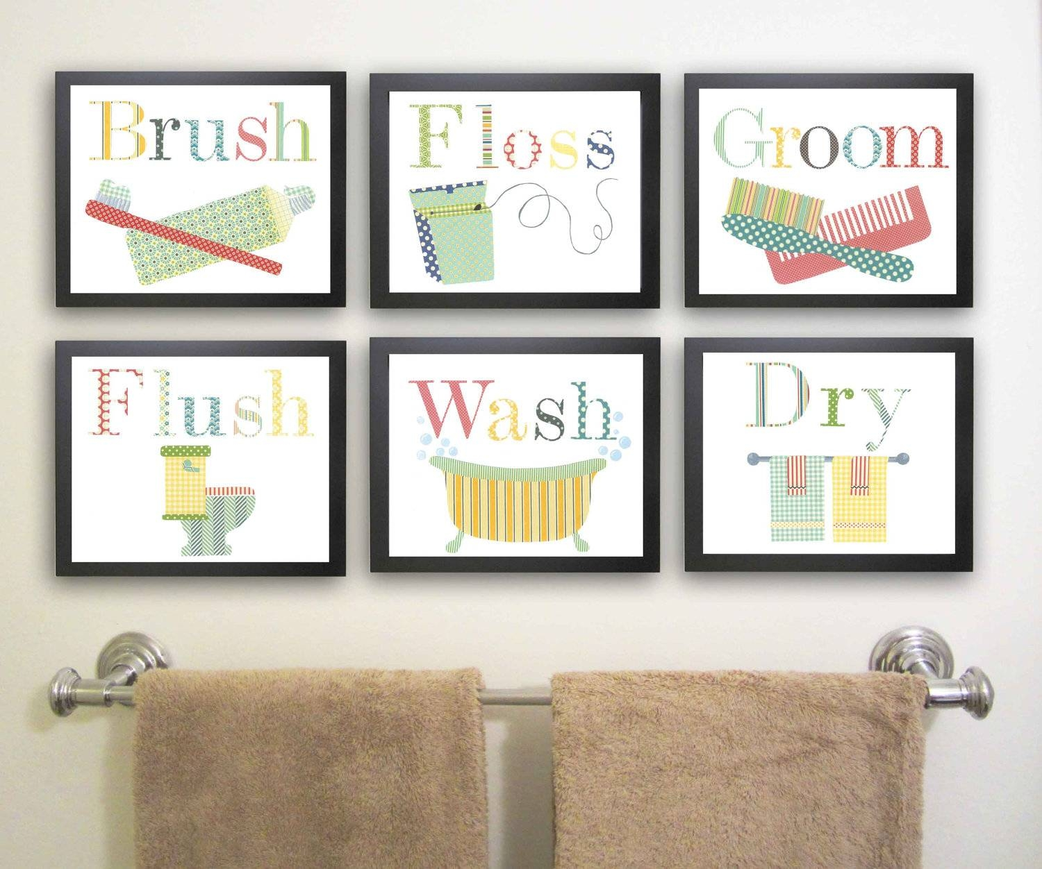 Cheerful Bathroom Themed Using Wall Typography Artwork Picture With Newest Contemporary Bathroom Wall Art (View 17 of 20)