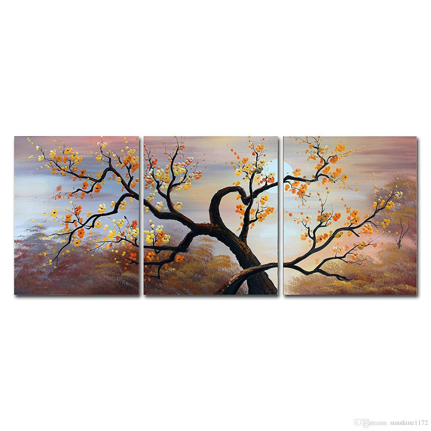 Cherry Blossom Canvas Wall Art Home Decoration Large Landscape Oil Pertaining To Most Current Dinosaur Canvas Wall Art (View 8 of 15)