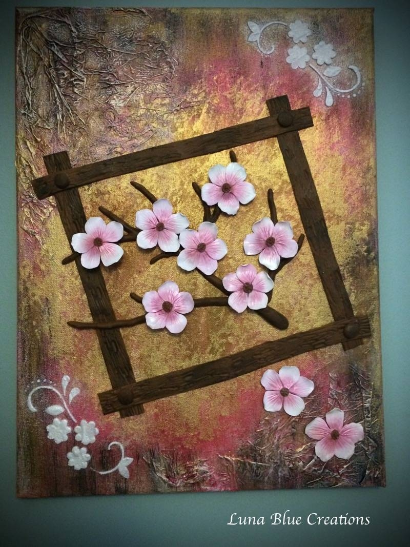 Cherry Blossom Mixed Media Polymer Clay On Canvas – Luna Blue Pertaining To 2017 Polymer Clay Wall Art (View 6 of 20)