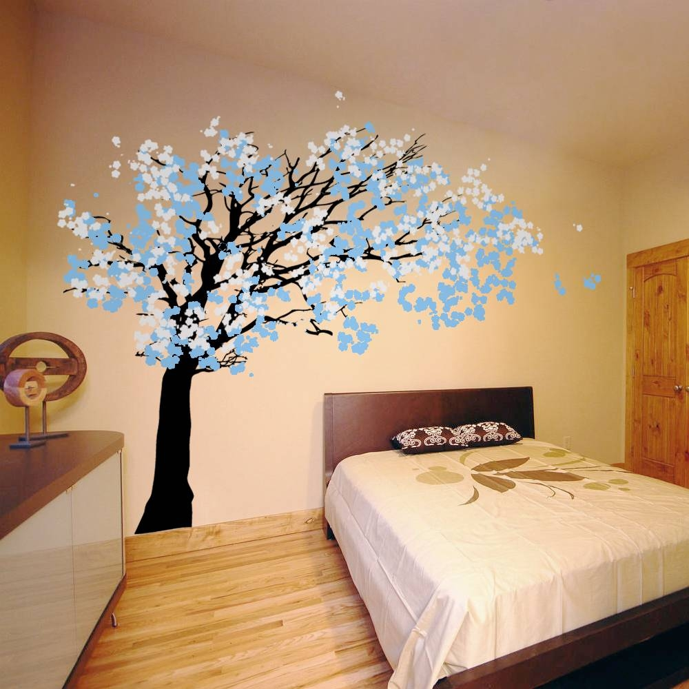 Cherry Blossom Tree – Blowing In The Wind Wall Decal Sticker Graphic For 2017 Red Cherry Blossom Wall Art (View 25 of 30)