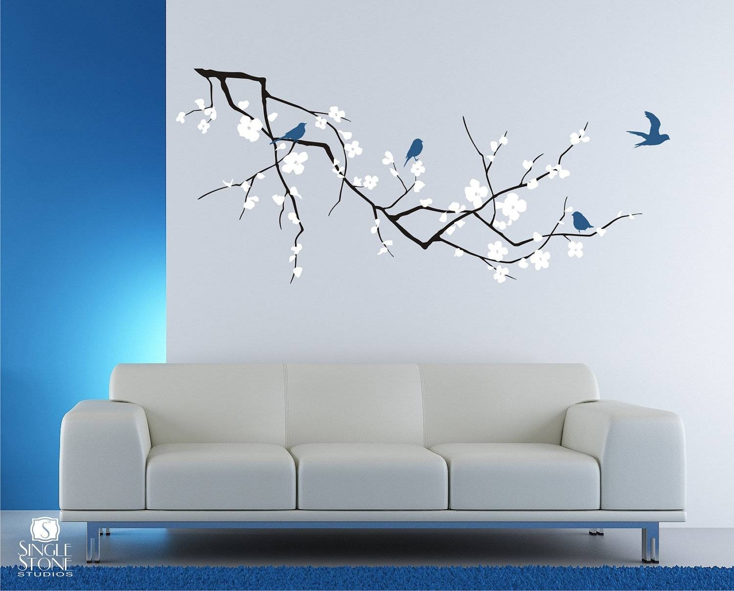 Cherry Blossom Tree Branch Wall Decal With Birds Vinyl Wall Pertaining To Most Current Vinyl Wall Art Tree (View 2 of 20)