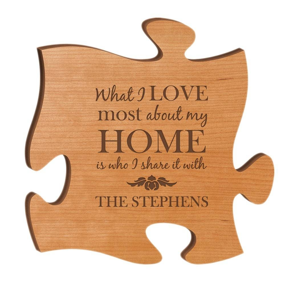 Cherry Wood 12 Inch Puzzle Piece Wall Art For Best And Newest Personalized Family Wall Art (View 20 of 20)