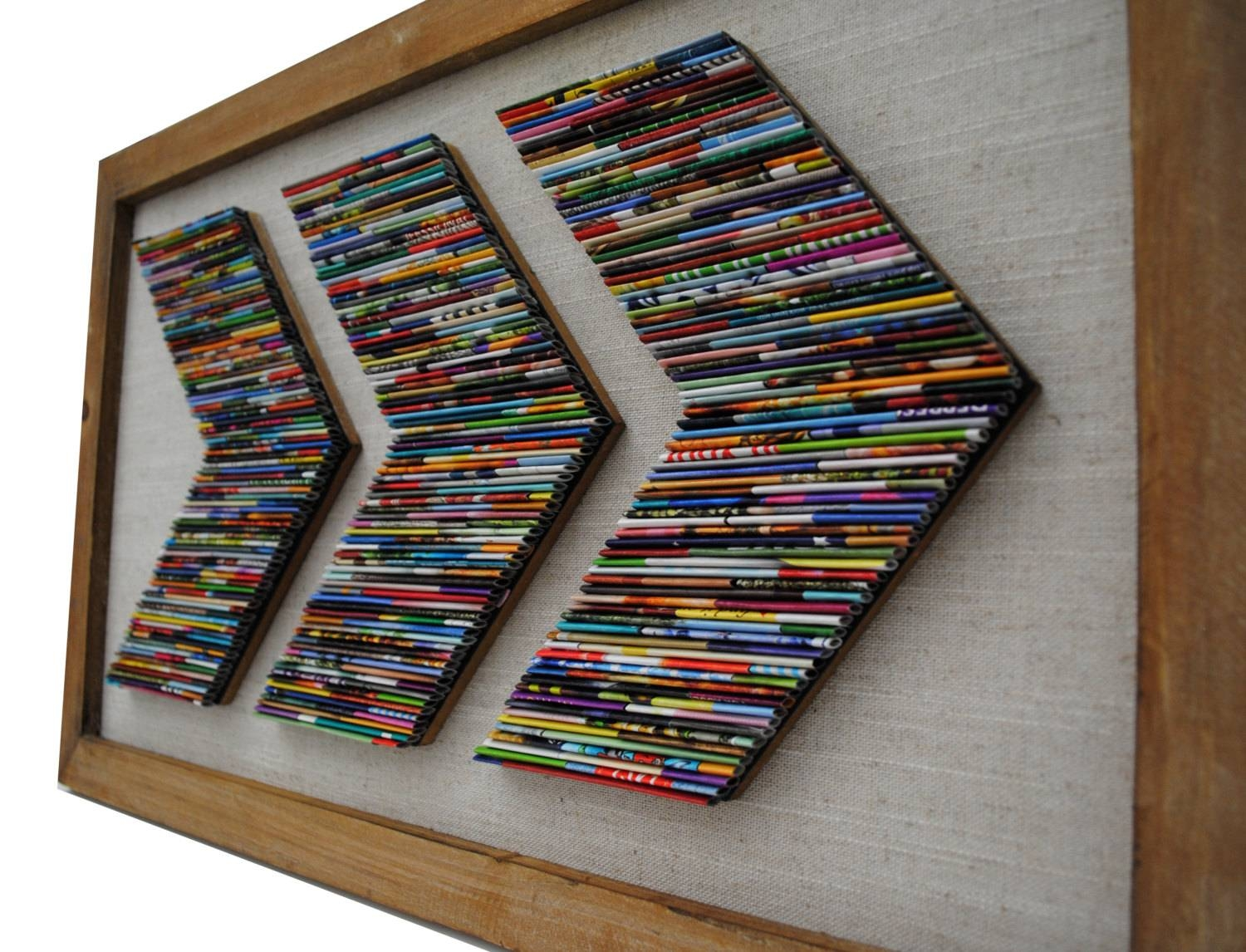 Chevron Recycled Magazine Wall Art  Made From Recycled Magazines With Regard To 2017 Recycled Wall Art (View 7 of 30)