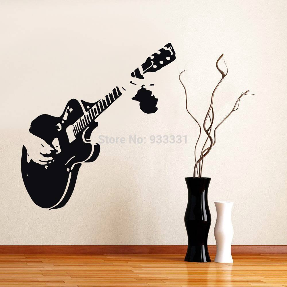 Chic Music Room Wall Ideas Silhouette Guitar Heads Music Music Regarding Newest Music Theme Wall Art (Gallery 3 of 30)