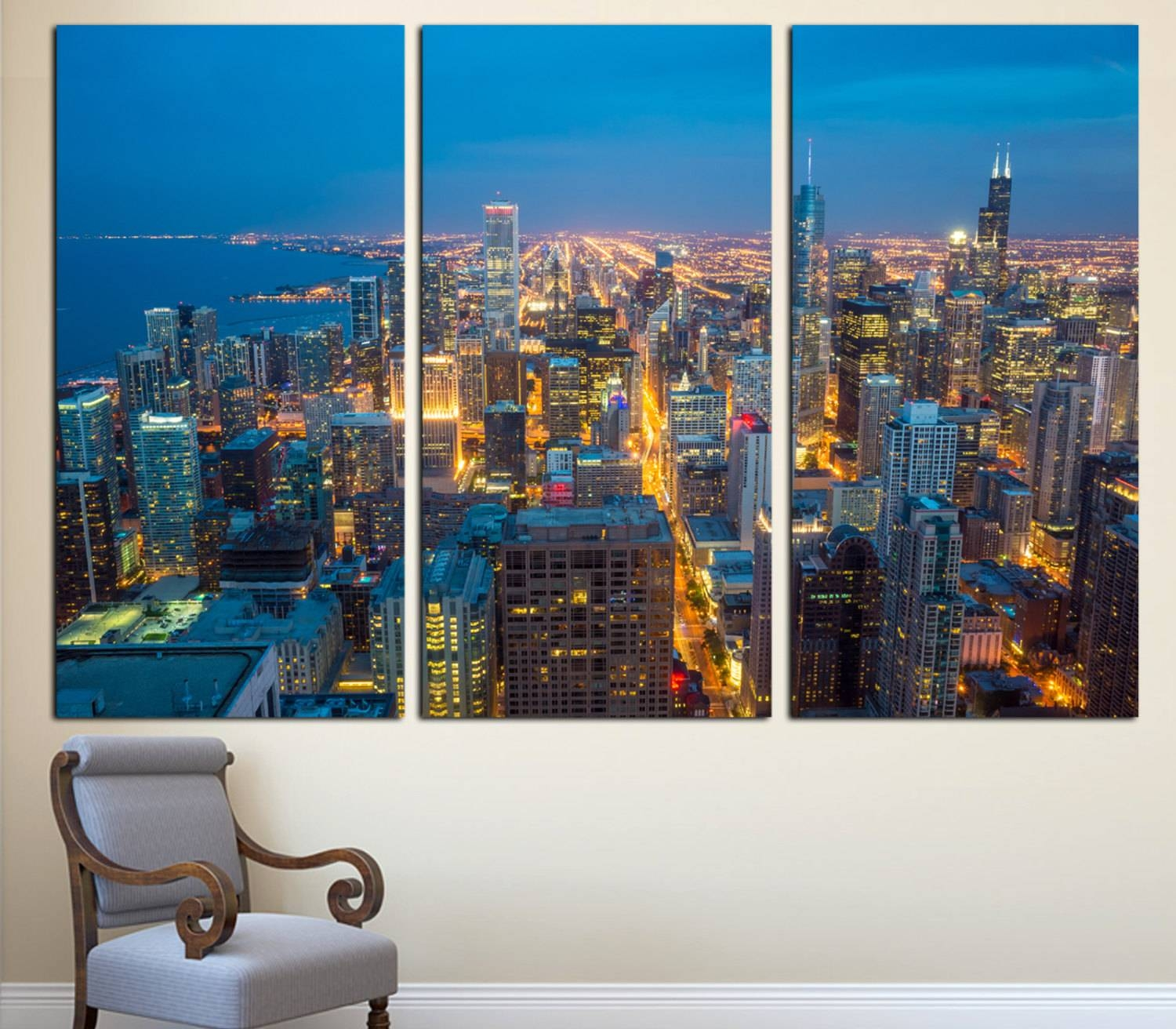Chicago City Skyline Art Canvas Print 3 Panel Split In 2017 Cityscape Canvas Wall Art (View 7 of 20)