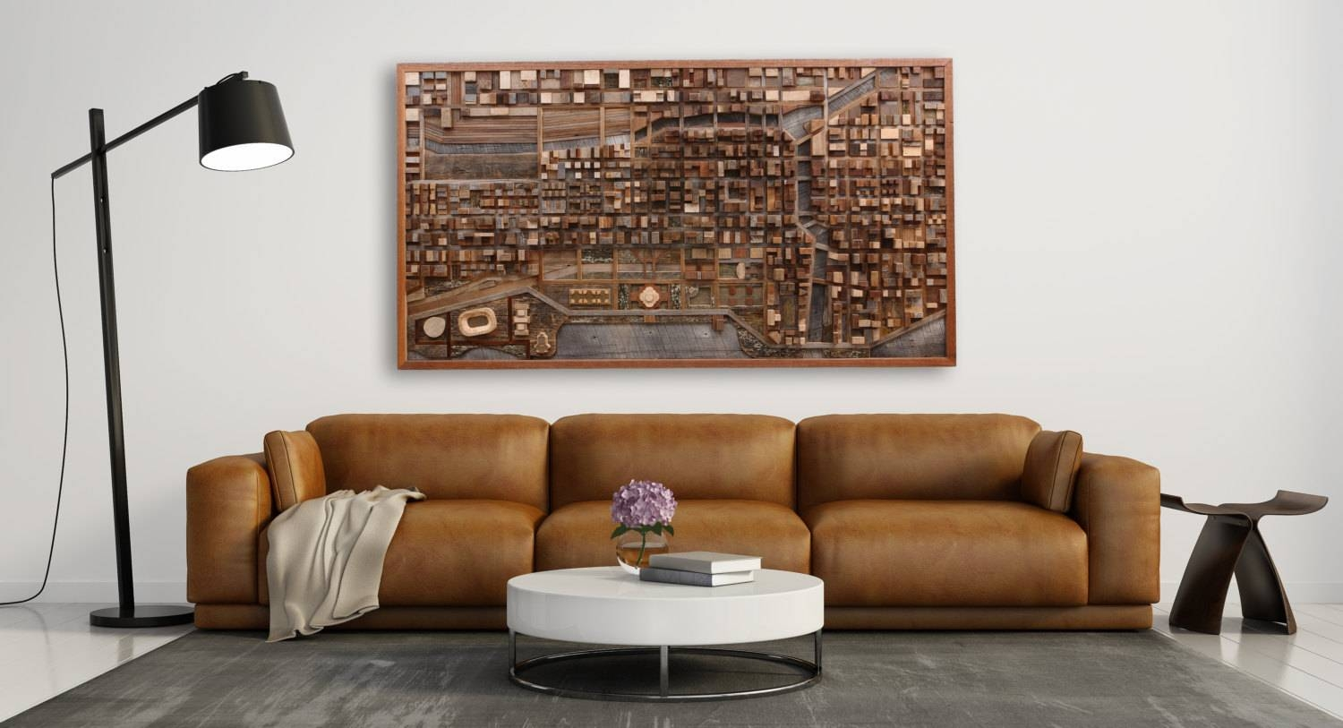 Chicago Cityscape Wood Wall Art Made Of Old Reclaimed Barn In Recent Wood Wall Art (Gallery 24 of 25)