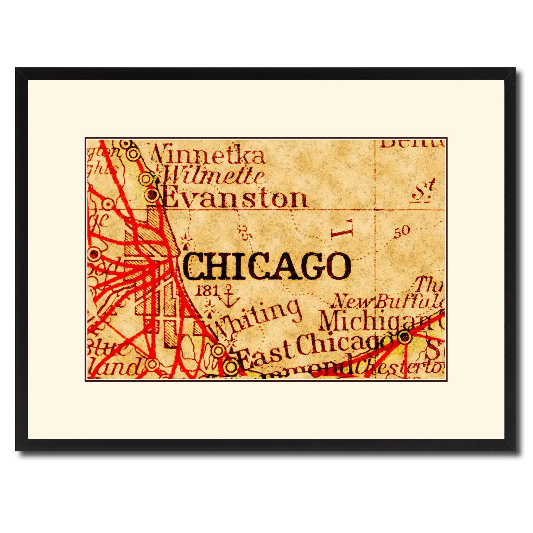 Chicago Illinois Vintage Antique Map Wall Art Home Decor Gift Within 2018 Vintage Map Wall Art (View 16 of 20)