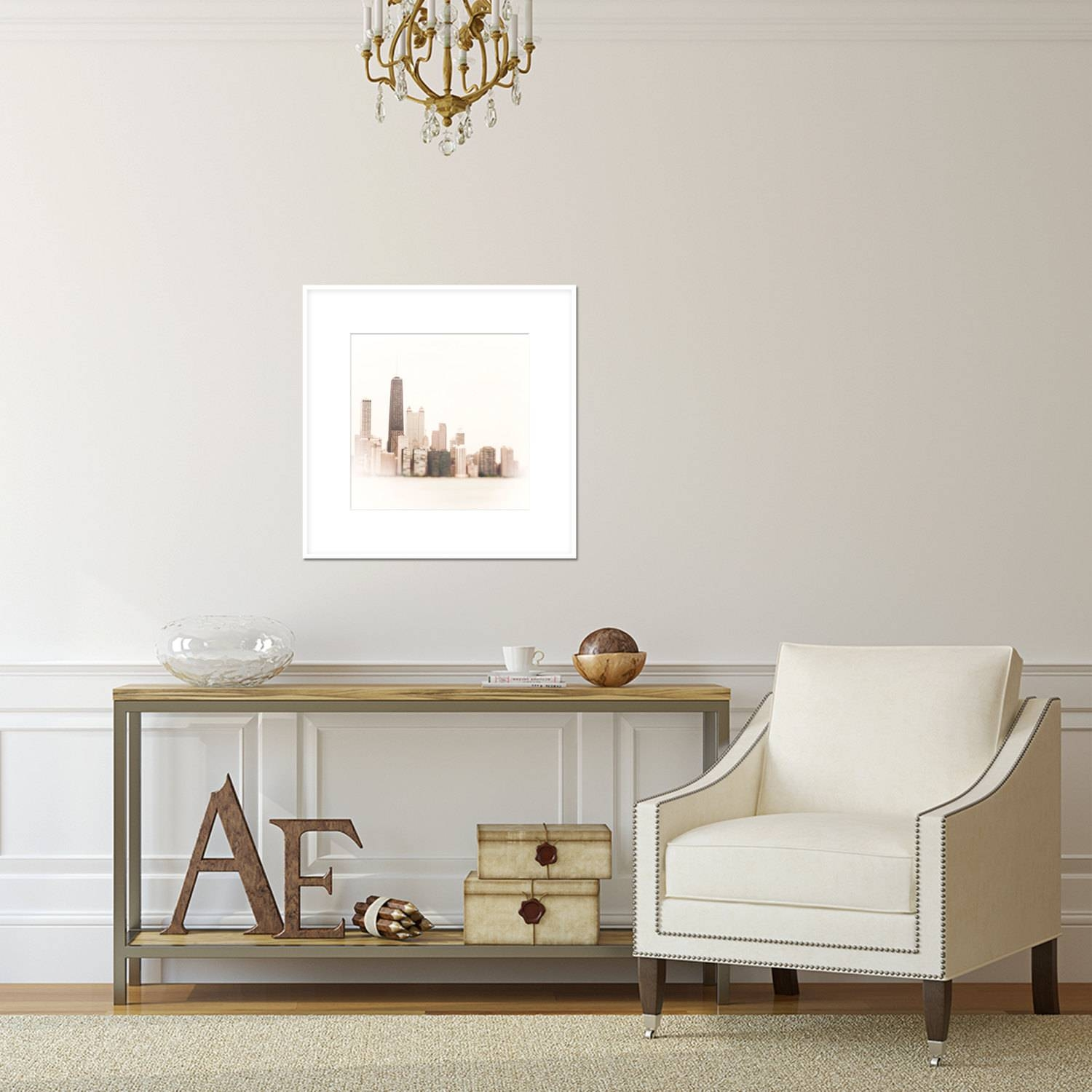 Chicago Skyline Wall Art, Photograph Chicago, White Wall Art Print Intended For Most Recently Released Neutral Wall Art (View 6 of 15)
