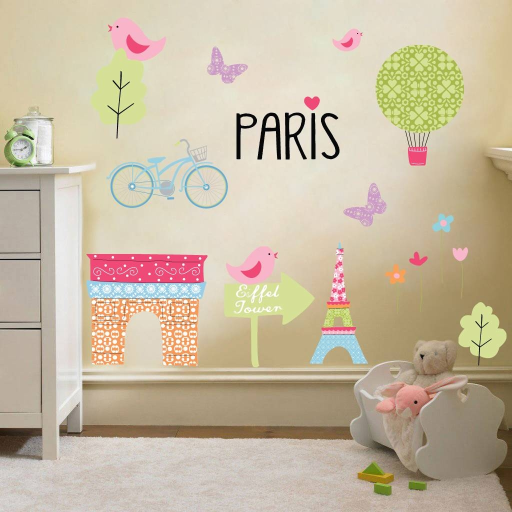 Childrens Paris City Wall Stickers Decals Nursery Décor Girls Room With Regard To Recent Paris Theme Nursery Wall Art (View 15 of 30)