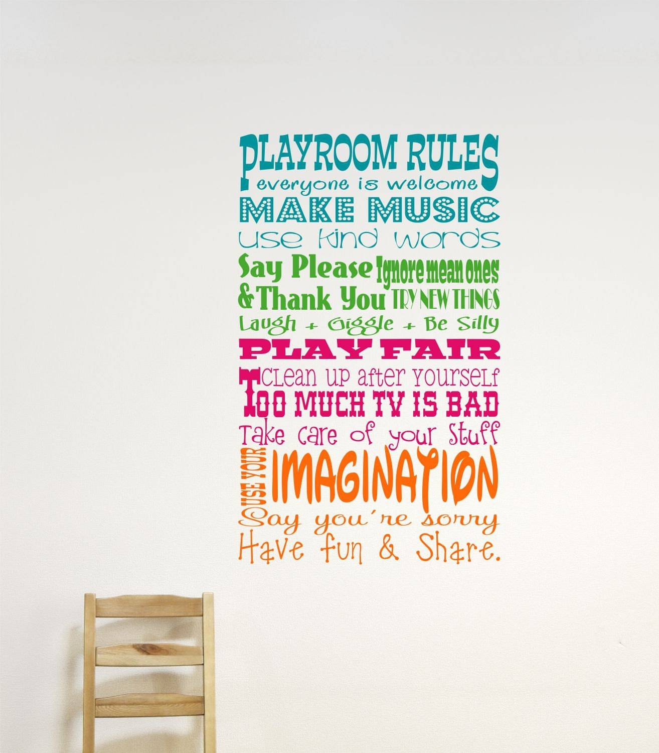 Childrens Wall Decor // Playroom Rules Wall Decal // Childrens In 2017 Wall Art For Playroom (View 12 of 30)