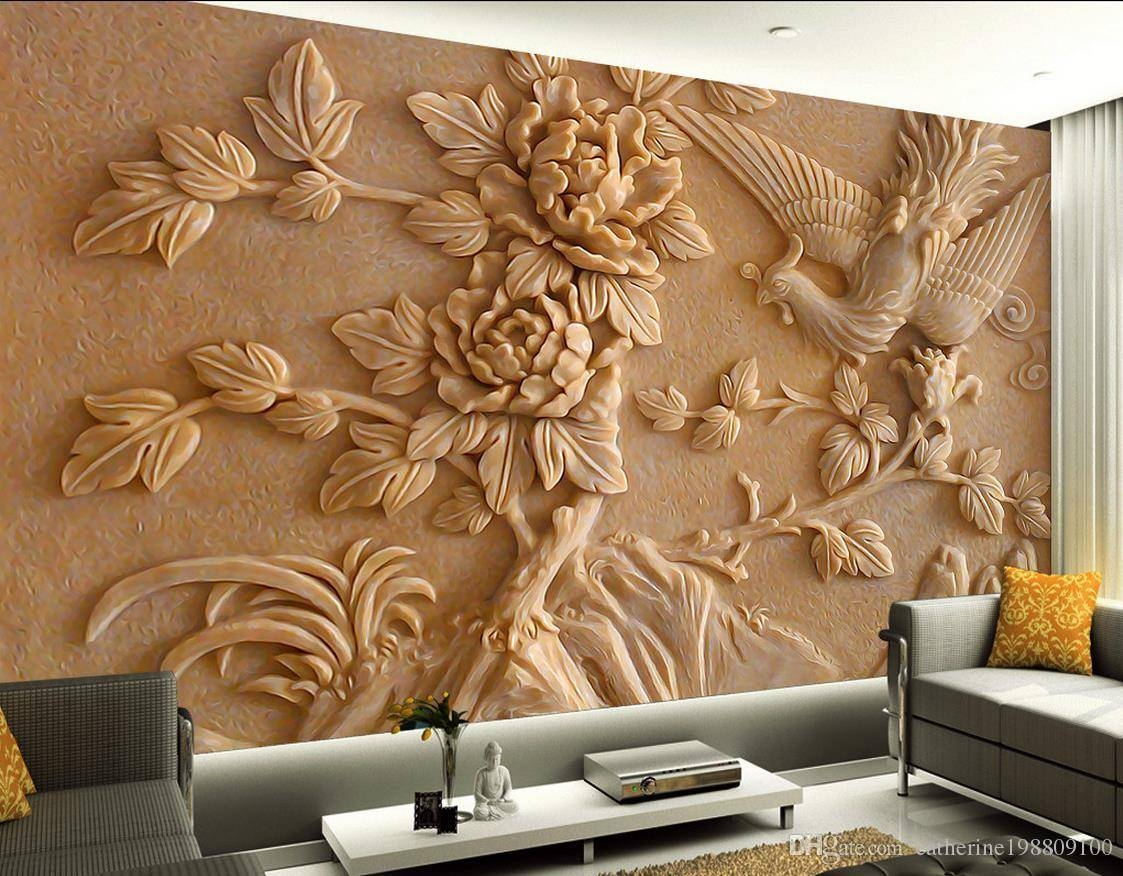 Chinese Stereo Relief Phoenix Peony Mural Tv Wall Mural 3d Inside 2017 3d Wall Art Wallpaper (View 3 of 20)