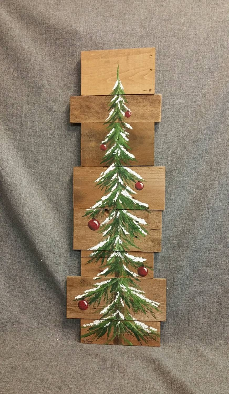 Christmas Tree Red Bulbs Pine Tree Reclaimed Wood Pallet Within Most Recent Pine Tree Wall Art (View 28 of 30)