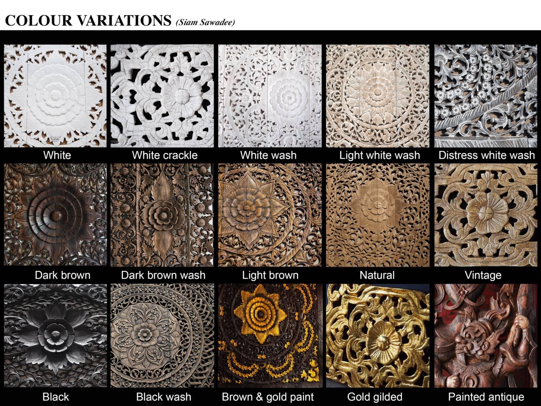Circle Carved Wooden Wall Art Buddhist Flower Panel – Siam Sawadee Regarding Newest Dark Wood Wall Art (View 14 of 15)