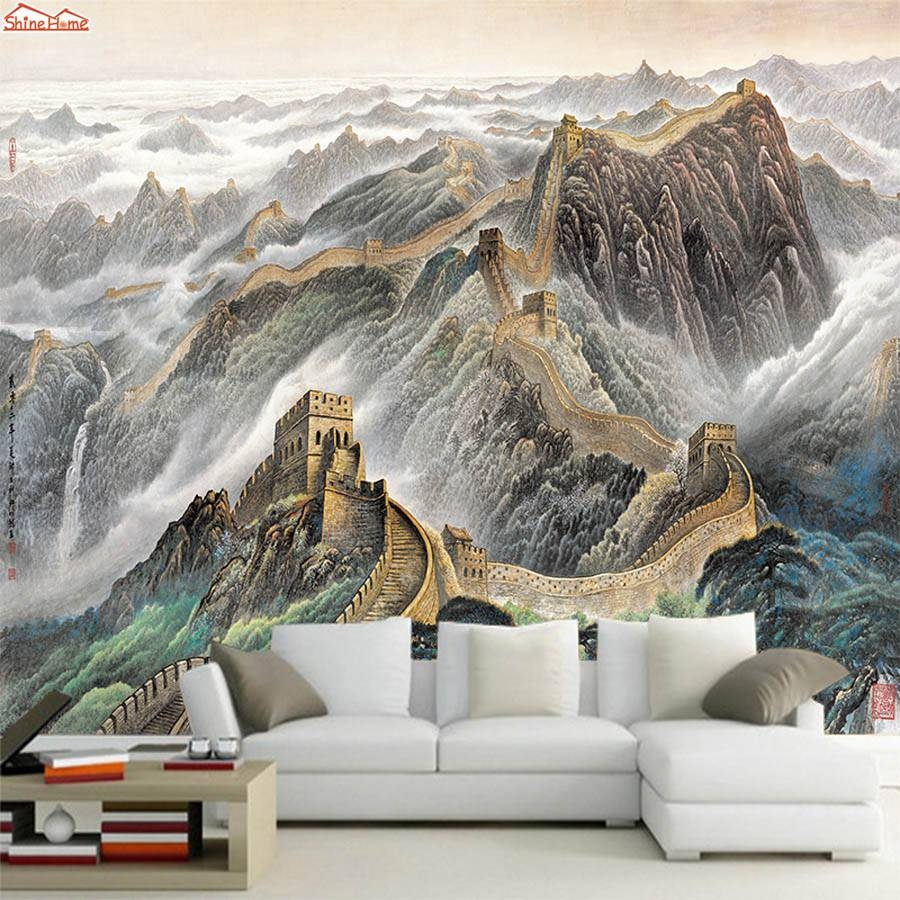 City Style Oil Painting Murals In London Wall Paper Sticker 3D With Best And Newest Great Wall Of China 3D Wall Art (View 5 of 20)