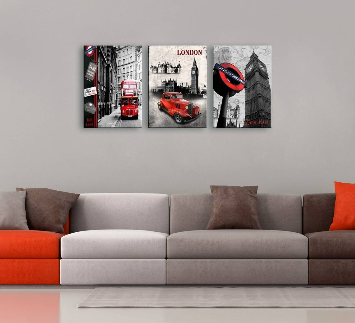 Cityscape 3 Piece Printed Photography Regarding Recent Black And White Wall Art With Red (View 9 of 25)