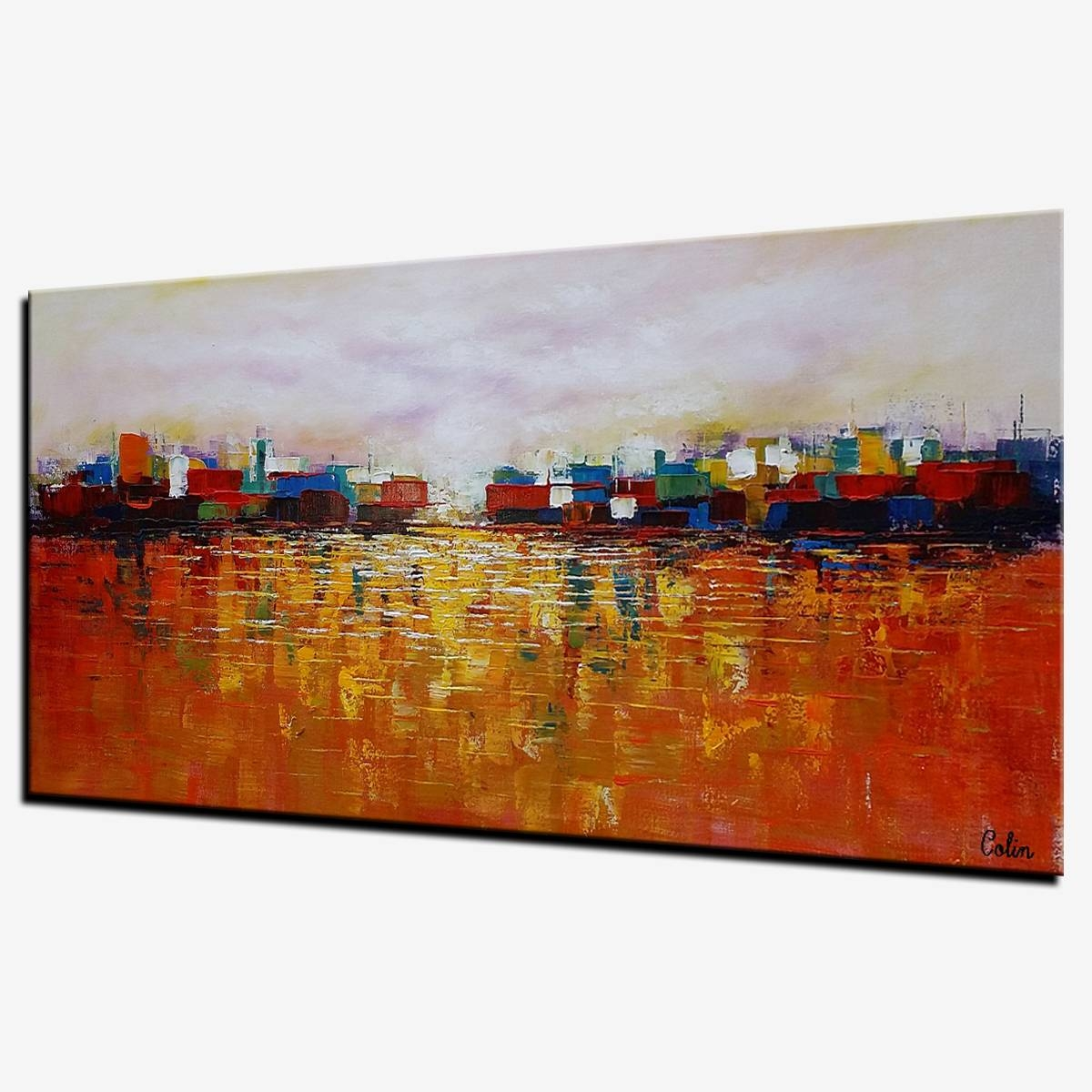 Cityscape Art, Abstract Landscape Painting, Canvas Wall Art With Most Up To Date Cityscape Canvas Wall Art (View 8 of 20)