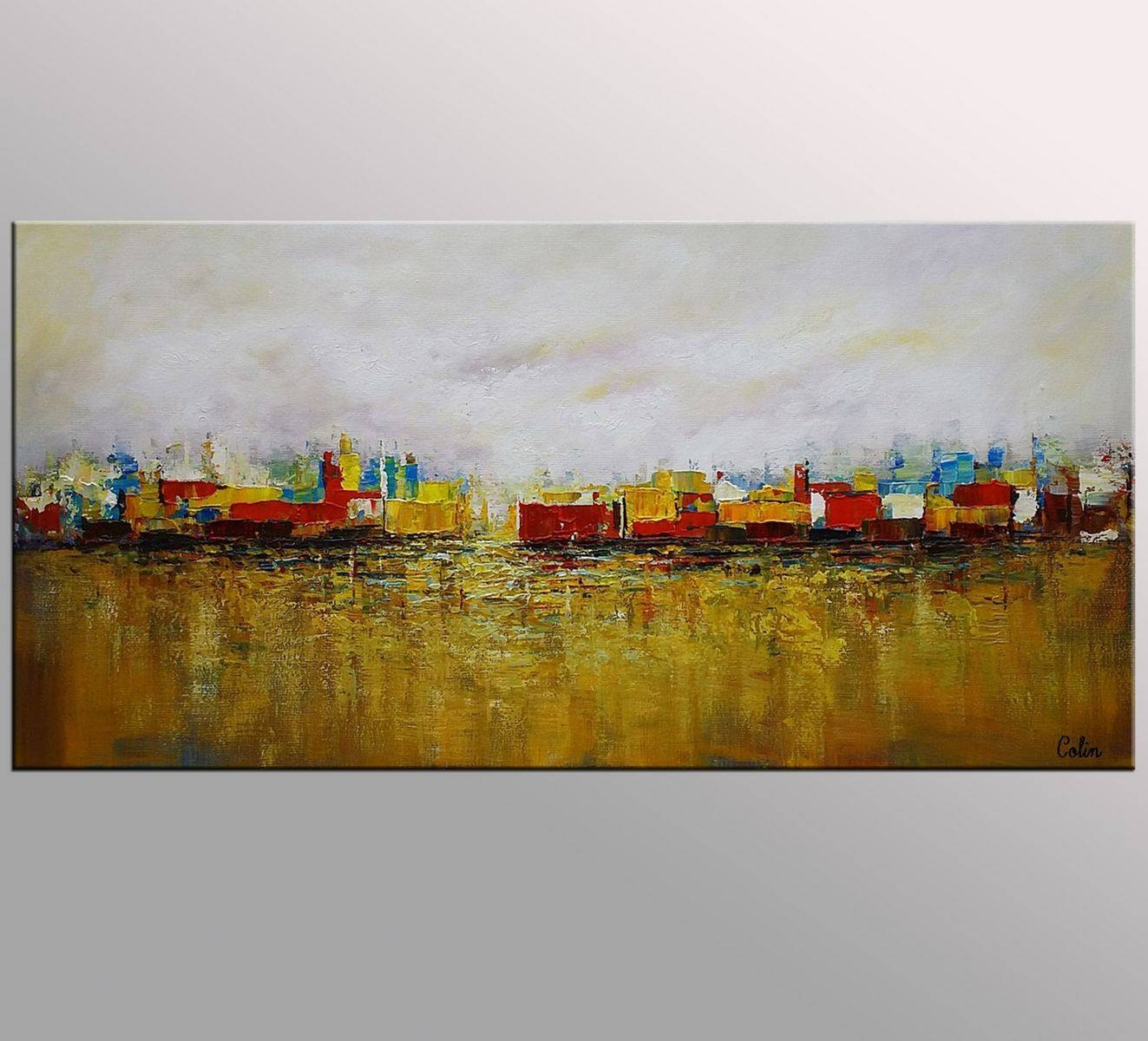 Cityscape Art, Canvas Wall Art, Landscape Painting, Contemporary For Most Recently Released Cityscape Canvas Wall Art (View 19 of 20)