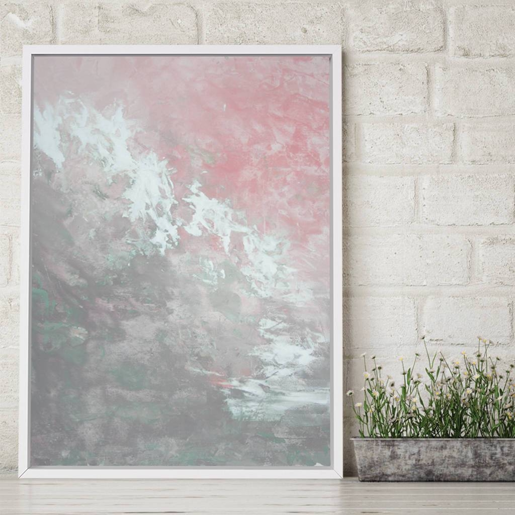 Clara Foxlore' Framed Giclée Abstract Canvas Print Art In Current Pink And Grey Wall Art (View 6 of 20)