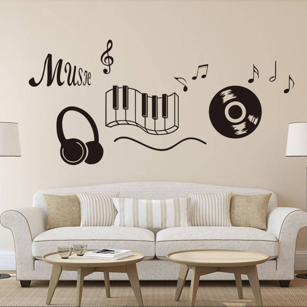 Classic Record Earphone Piano Keyboard Music Note Wall Art Mural In Latest Music Note Wall Art Decor (View 2 of 20)