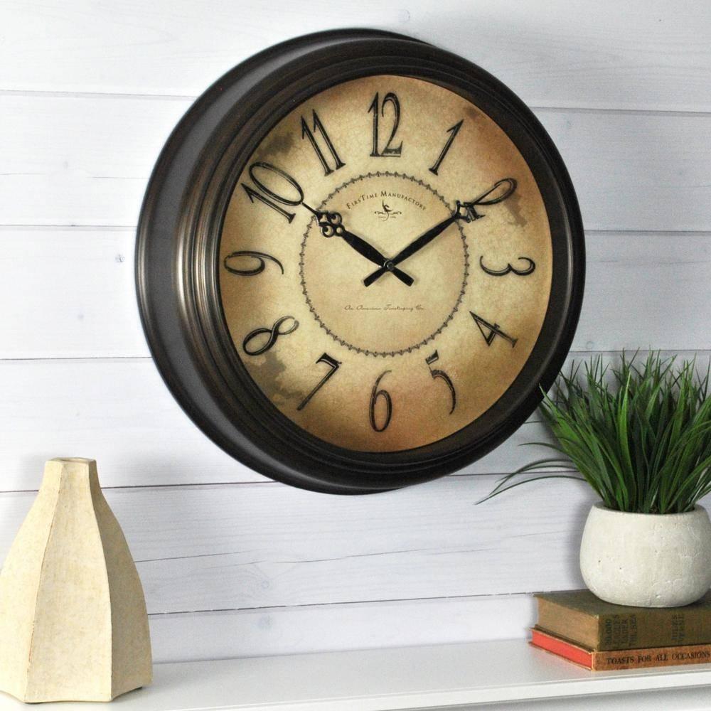 Classic – Wall Clocks – Wall Decor – The Home Depot Regarding Newest Italian Ceramic Wall Clock Decors (View 4 of 25)