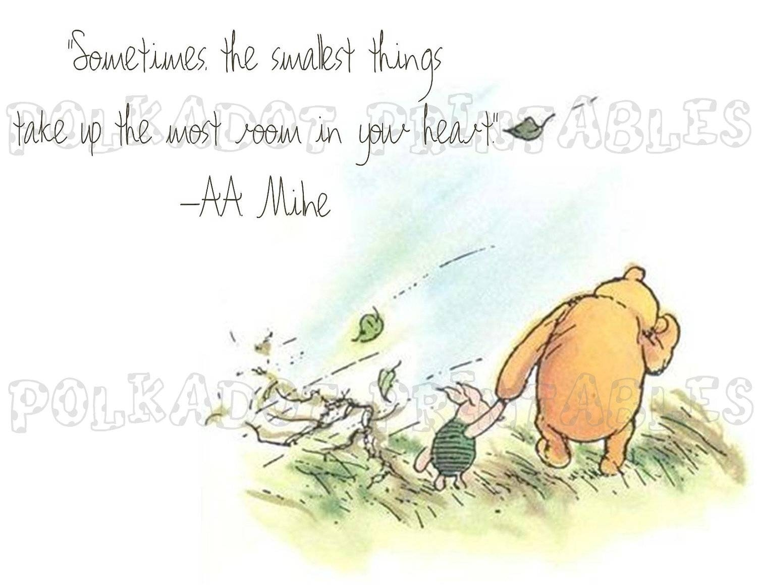Classic Winnie The Pooh And Piglet Card Instant Download 3 Pertaining To Most Current Classic Pooh Art (View 5 of 20)