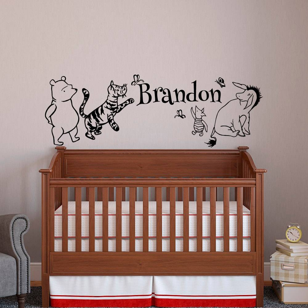 Classic Winnie The Pooh Baby Name Wall Decal Pooh Bear With Regard To 2017 Winnie The Pooh Wall Art For Nursery (View 1 of 15)