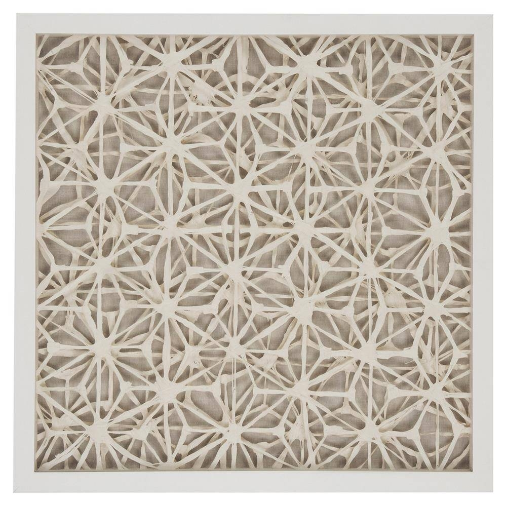 Coastal Modern Abstract Paper Framed Wall Art – Ii | Kathy Kuo Home Pertaining To Most Popular Pattern Wall Art (View 5 of 20)