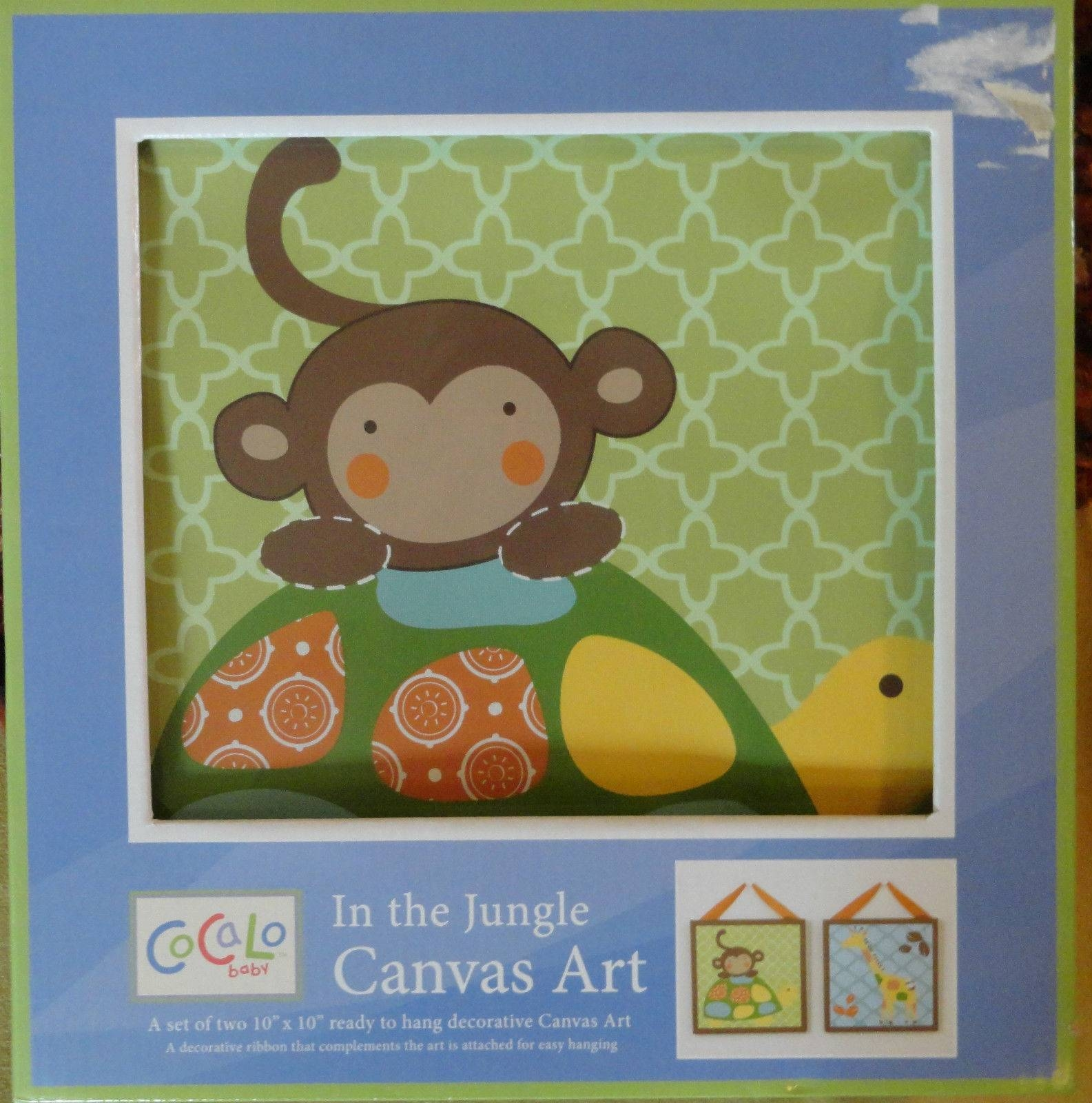 Cocalo Baby In The Jungle 2 Pc Canvas Wall Art Giraffe Monkey | Ebay In Current Jungle Canvas Wall Art (View 11 of 20)