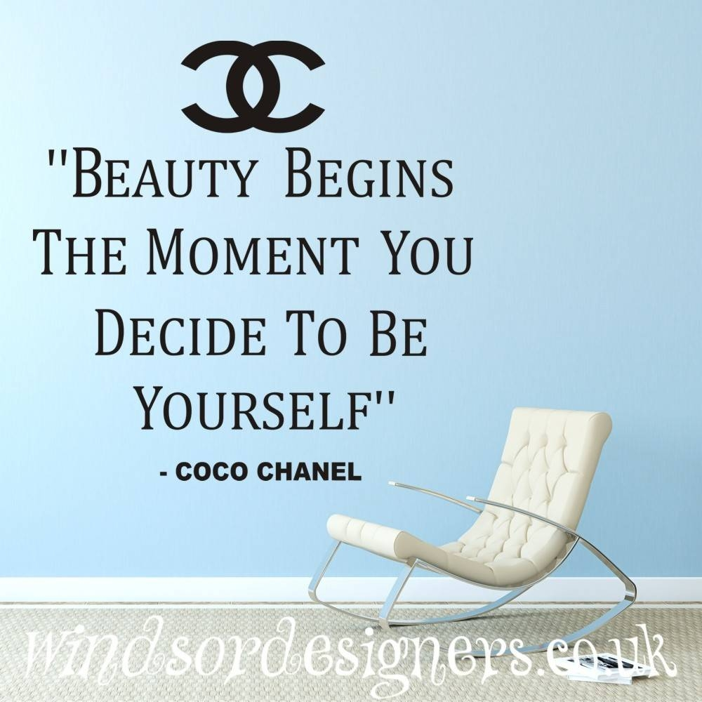 """Coco Chanel """" Beauty Begins The Moment You Decide To Be Yourself Pertaining To Most Up To Date Coco Chanel Wall Decals (View 19 of 25)"""