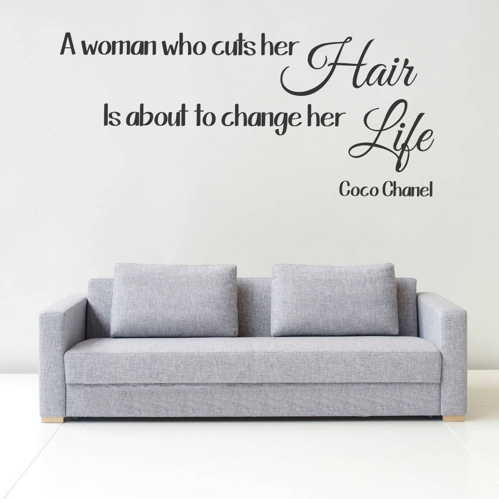Coco Chanel Hair Quote Wall Art Picture Sticker Salon Straightners Pertaining To Most Popular Coco Chanel Wall Stickers (View 8 of 30)