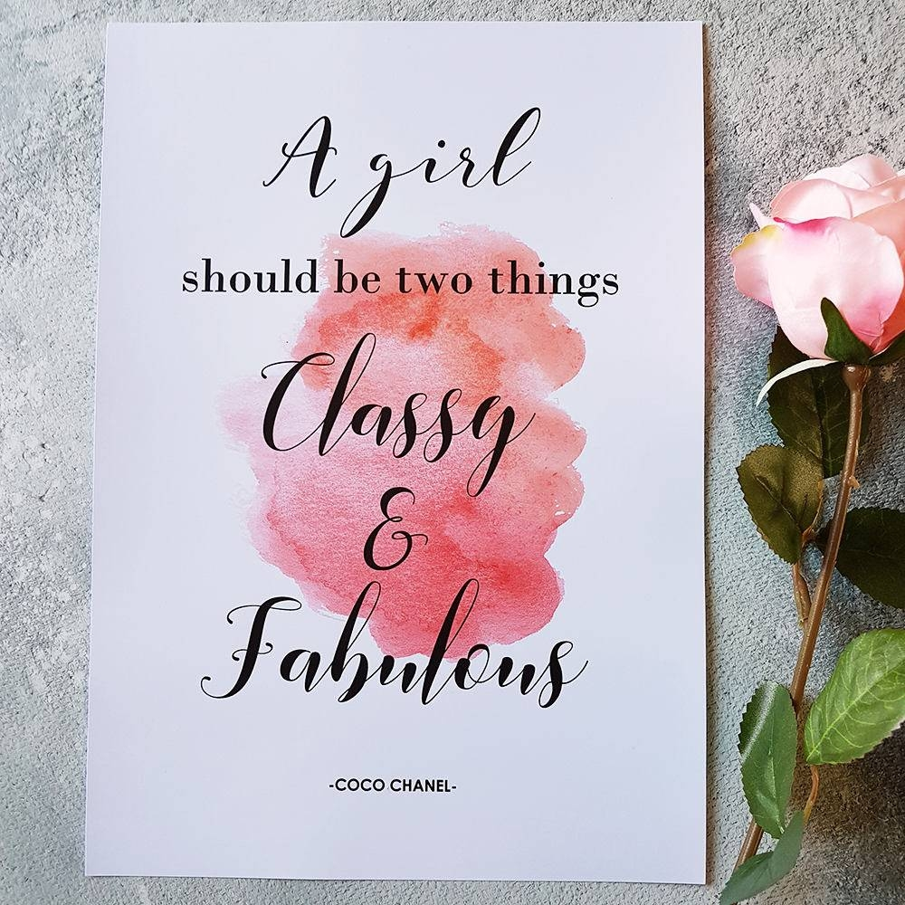 Coco Chanel Print A Girl Should Be Two Things Chanel Quote With Current Coco Chanel Quotes Framed Wall Art (View 12 of 30)
