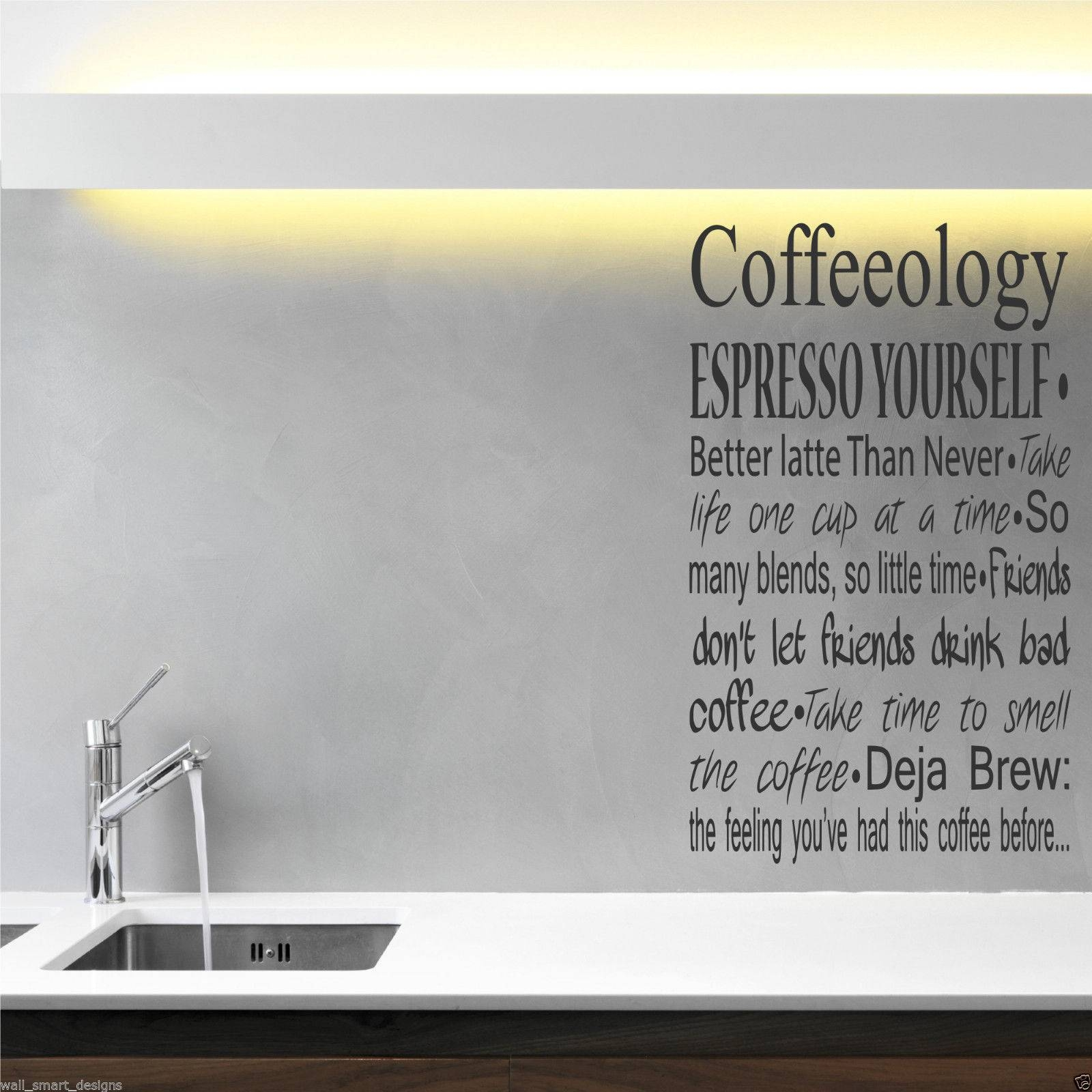 Coffee Coffeeology Kitchen Wall Art Sticker Quote Decal Mural For Latest Cafe Latte Kitchen Wall Art (View 10 of 30)