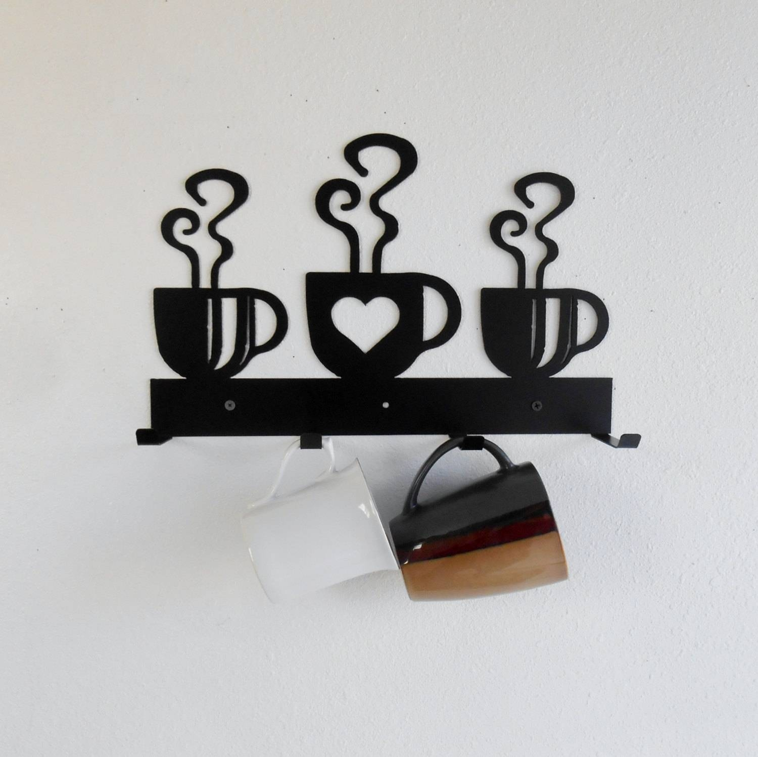 Coffee Cup Mug Rack / Four Cup Holder / Metal Wall Hanging / In Newest Metal Coffee Cup Wall Art (View 5 of 20)