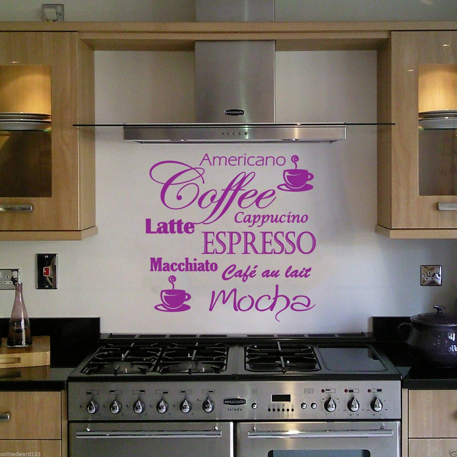 Coffee Latte Mocha Wall Art Decal For Kitchen Wall Decoration (View 2 of 30)